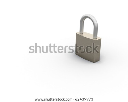 3d render of a closed padlock