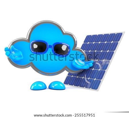 3d render of a cloud character next to a solar cell panel. - stock photo