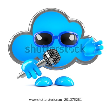 3d render of a cloud character using a microphone
