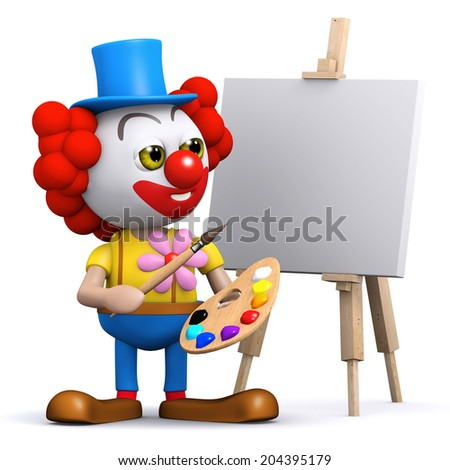 3d render of a clown painting a canvas on an easel - stock photo