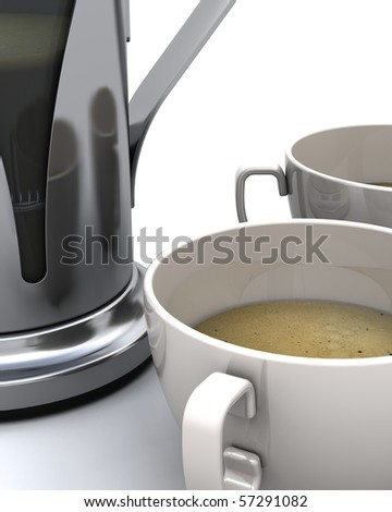 3D render of a coffee pot and cups of coffee