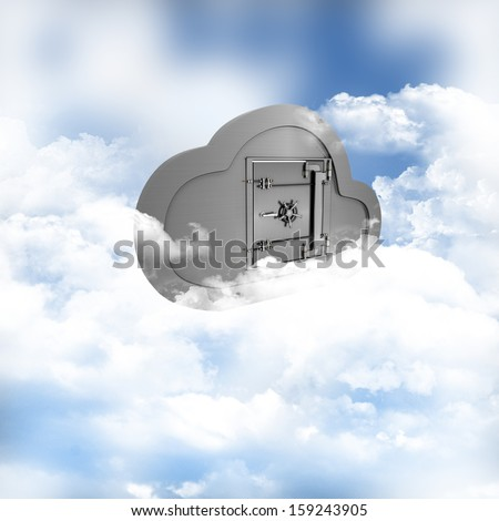 3D render of a concept of online storage in the clouds - stock photo