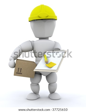 3D Render of a Construction Worker and Tools