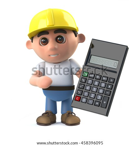 3d render of a construction worker holding a calculator