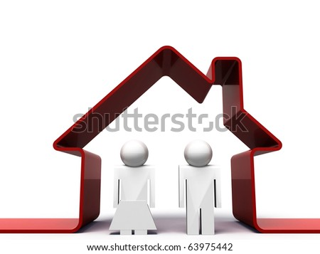 3d render of a couple standing in front of their house - stock photo