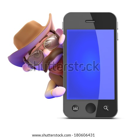 3d render of a cowboy behind a smart phone