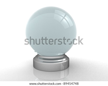 3d render of a crystal ball over white - 3d illustration - stock photo