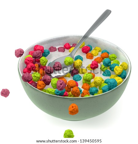 3d render of a cup with milk and colorful cereals