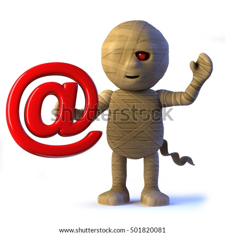 3d render of a cute Egyptian mummy monster holding an email address symbol.