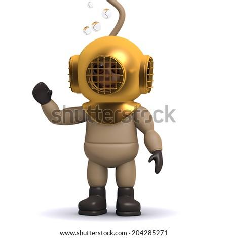 3d render of a deep sea diver waving hello - stock photo