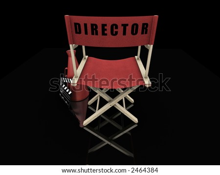3D render of a directors chair and movie items