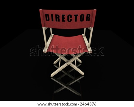 3D render of a directors chair on a black background