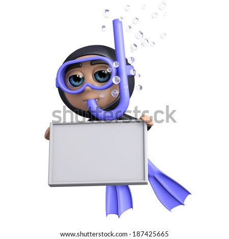 3d render of a diver holding a blank banner - stock photo