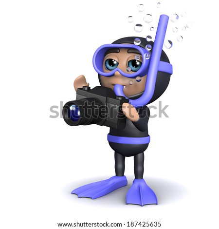 3d render of a diver with a camera - stock photo