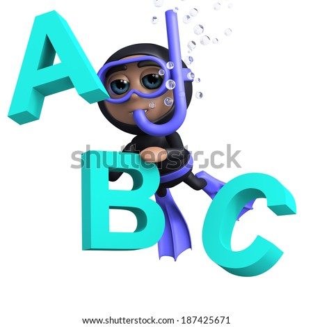 3d render of a diver with the letters a, b and c - stock photo