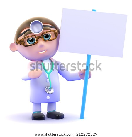 3d render of a doctor holding a placard - stock photo