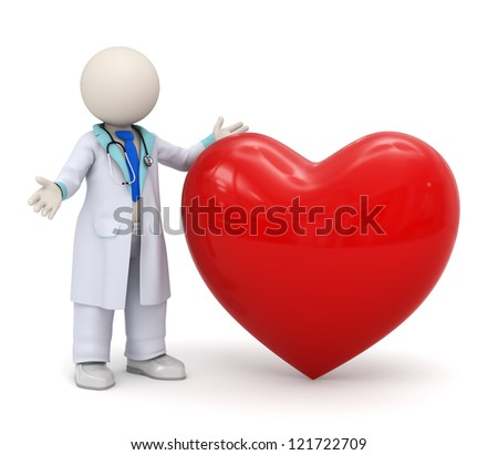 3d render of a doctor standing near a big red heart - cardiology icon - stock photo