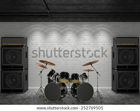 3d render of a drum set on a background of a brick wall and guitar amps.  - stock photo