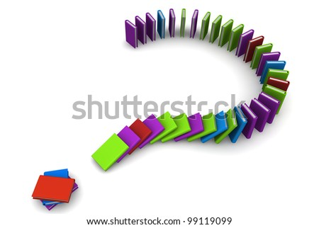 3D render of a falling row of colorful books in question mark form, as domino reaction