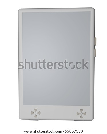 3D render of a fantasy model of eBook reader, frontal view