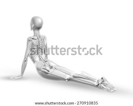 3D render of a female medical figure with skeleton in yoga position - stock photo