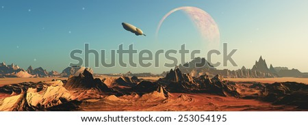 3D render of a fictional space scene with a space ship flying towards a planet - stock photo