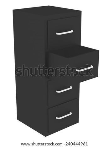 3d Render of a File Cabinet with an Open Drawer - stock photo