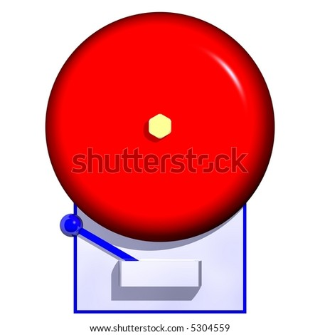 3D render of a fire alarm isolated on white - stock photo