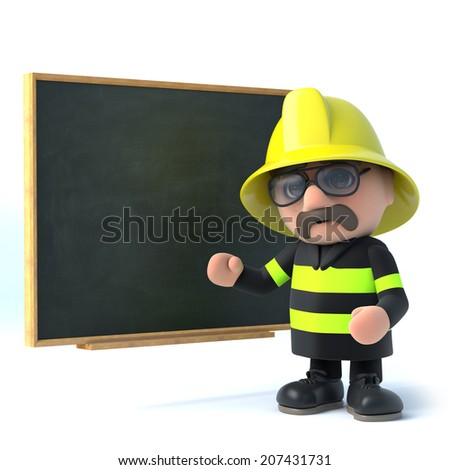 3d render of a firefighter stood next to a blackboard - stock photo