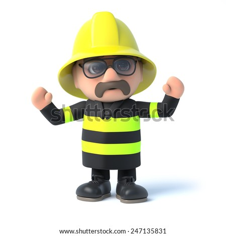 3d render of a fireman cheering with his arms in the air. - stock photo