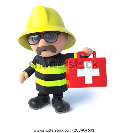 3d render of a fireman holding a first aid kit - stock photo