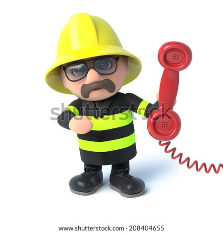 3d render of a fireman holding a telephone handset - stock photo