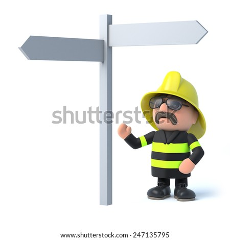 3d render of a fireman looking at a road sign. - stock photo