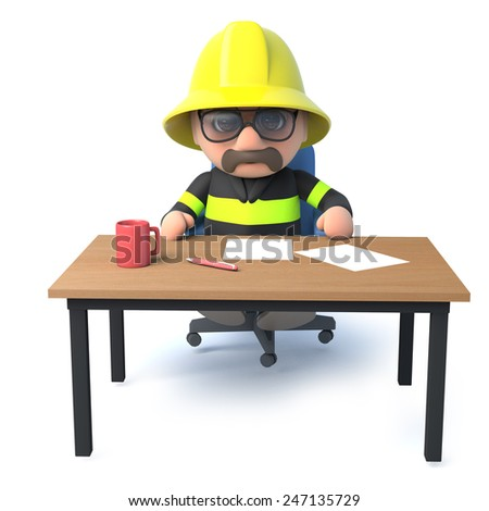 3d render of a fireman sitting at his desk. - stock photo