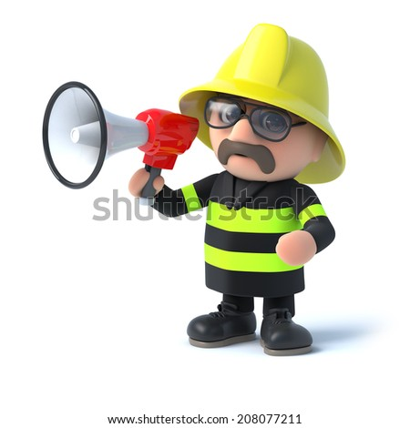 3d render of a fireman with a loudhailer - stock photo