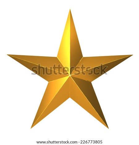 3d render of a five pointed gold star