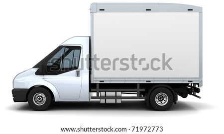 3D Render of a flat bed van