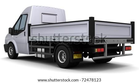3D Render of a flat bed van - stock photo