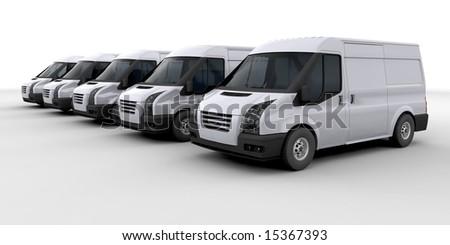 3D render of a fleet of delivery vans - stock photo