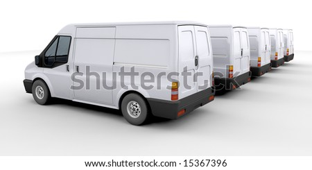 3D render of a fleet of delivery vans