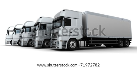 3D Render of a Fleet of Delivery Vehicles - stock photo