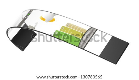 3d render of a flexible mobile bracelet isolated on a white background - stock photo