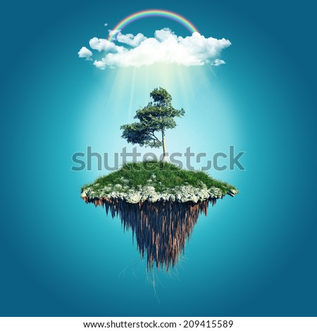 3D render of a floating island with cloud and rainbow - stock photo