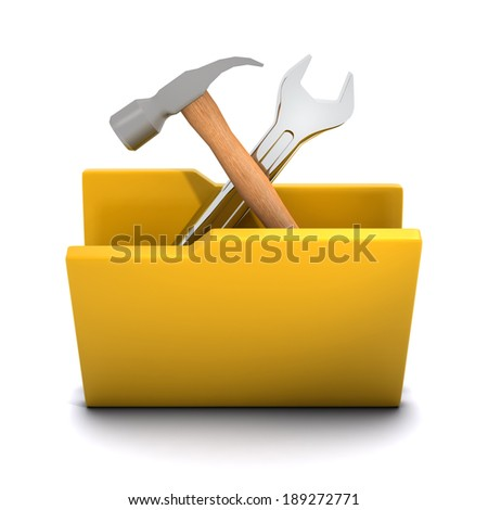 3d render of a folder containing a hammer and spanner