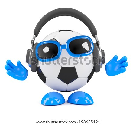 3d render of a football character wearing headphones