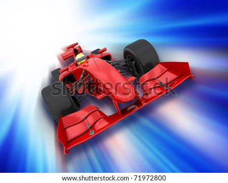 3D render of a formula one car on a motion background - stock photo