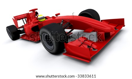 3d render of a formula one racing car - stock photo