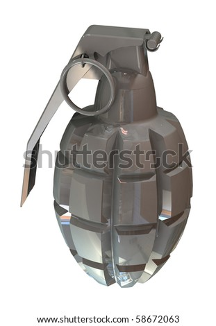 3d render of a fragmentation hand grenade MK2 isolated on white background