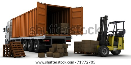 3D Render of a freight container Delivery Vehicle - stock photo