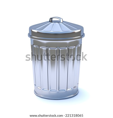 3d render of a galvanized steel rubbish bin - stock photo